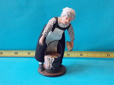 Lady Doll OOAK Artist Dollhouse Miniature Handmade Cleaning Woman Signed 1/12