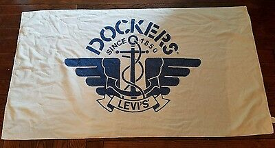 "Vintage Rare DOCKERS LEVI'S Beach Bath Towel ""Since 1850"" White and Blue Cannon"