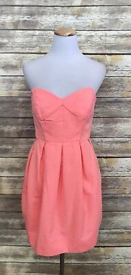 754d2e35207c8 Shoshanna Neon Coral Sheath Bubble Hem Strapless Sweetheart Cocktail Dress 6