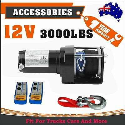 12V 3000LBS/1361KGS Remote Control Electric Winch Nylon Synthetic Rope ATV 4WD X