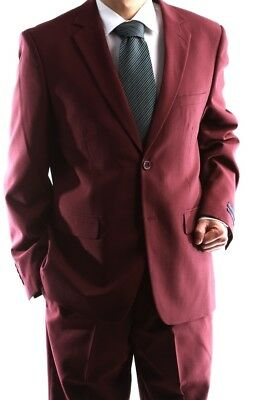 Men's 2 Button Burgundy Classic Fit Dress Suit Style # Pr02-12-Bur