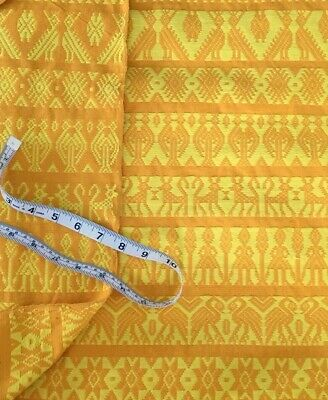 "Vintage Handwoven Textile Fabric 4 YARDS 35"" Wide Immaculate Stylized Animals"