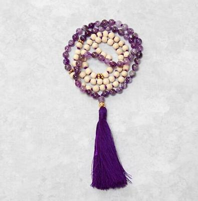 8mm 108 Amethyst Howlite Tassels Necklace Wristband cuff natural Bless Cheaply