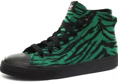release date 80f52 dc898 ADIDAS Jeremy Scott Special Edition JS Nizza Tiger Hi-tops Green UK Size 8