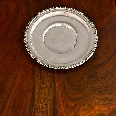 - American Sterling Silver Hors D'oeuvres Plate Gadrooned Rim: 9In No Monograms