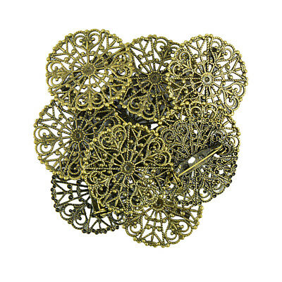 10x Vintage Filigree Flower Blank Brooch Setting Lapel Safety Pin Base Badge