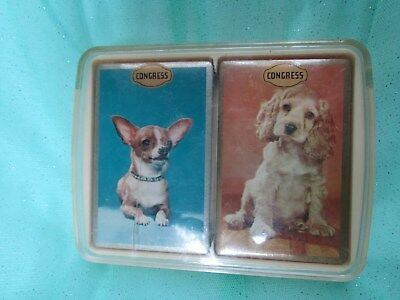 Vtg Congress Double Deck DOG Playing Cards CHIWAWA COCKER SPANIEL NEW SEALED