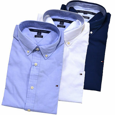 New Tommy Hilfiger Button down Shirt Mens Long Sleeve Custom Fit Casual Collared