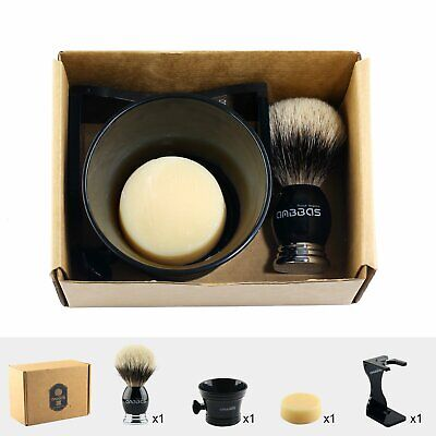 4in1 Shaving Kit Badger Silver tip Hair Brush Soap Resin Acrylic Cup Holder Set