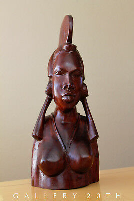 Wow! Rosewood African Himba Girl Sculpture! Mid Century Woman Statue Black Nude