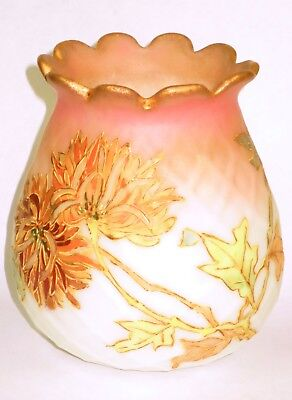 Mt. Washington signed Crown Milano Art Glass Quilted Vase w/Colorful Mums & Gilt