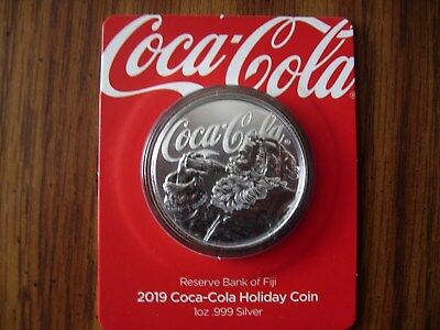 2019 1oz .999 Silver Coca-Cola Santa 1$ Round from Fiji #1503 of 25K COA on back