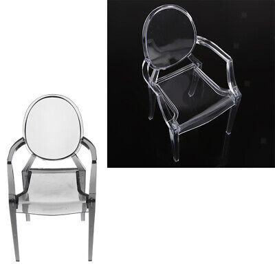 2Pcs Modern Ghost Chair Armchair Plastic Dining Chair for 1/6 BJD Ken Doll