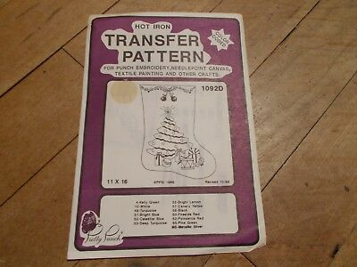 VTG PRETTY PUNCH Christmas Stocking Hot Iron Transfer Pattern #1092D