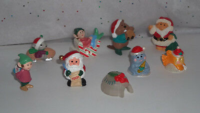 HALLMARK MERRY MINIATURES Lot of 9 Christmas Igloo Santa Cat Elves Mouse Beaver