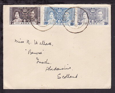 ADEN 1937 KGVI CORONATION STAMPS SET COVER to ABERDEENSHIRE SCOTLAND (L055)