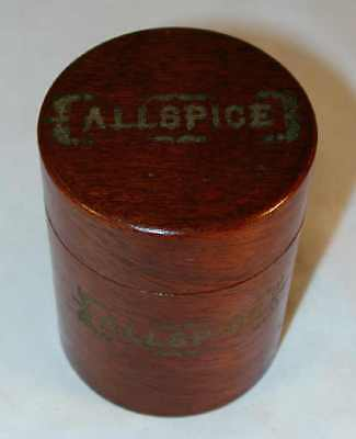 """1860s Antique American Bentwood Wood Spice Box """"Allspice"""" Cylindrical Box w/ Lid"""