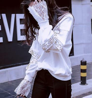 Fashion Womens Punk Short Hoodies Pull Over Hollow Out Lace Stitch Casual Coats