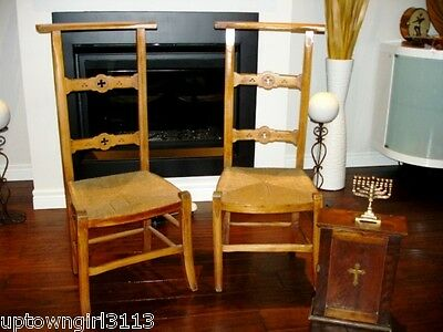 1800s FRENCH PRAYER BENEDICTINE CHAIRS Dieu FARMHOUSE Slice of Heaven rush seats