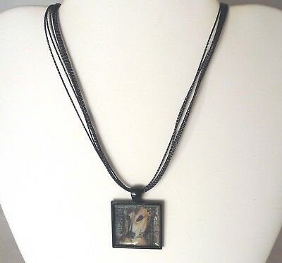 Drama Queen Greyhound or Whippet Dog Pendant, Multi Strand Black Cord Necklace