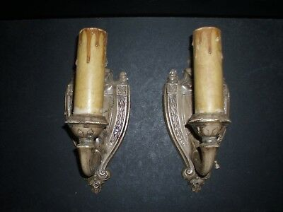 A Pair Of Signed Antique Vintage French Empire Brass Wall Sconces Light Fixtures