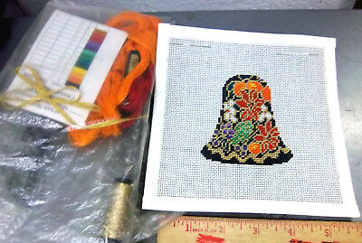 Handpainted Needlepoint canvas, colorful Bell shape ornament, with thread