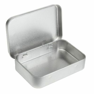 Mini Hinged Lid Tin Silver Empty Storage Box Metal Case For Money Coin Candy