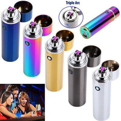 Electric Rechargeable USB Triple Arc 4 Cross Plasma Windproof Flameless Lighter
