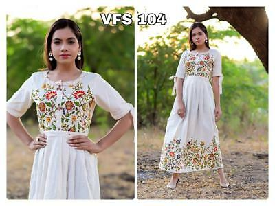 Designer White Girl's Wearing Party Wear Kurti Gown Style Bollywood Look Salwar
