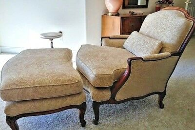 French Bergere Chair With Ottoman & Back Cushion Louis XII Style LOCAL PICKUP