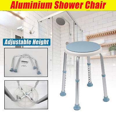 Aluminium Shower Seat Chair Stool Bench with Backrest Soft Pad Adjustable Height