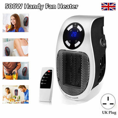 UK Plug 500W Portable Timer Electric Fan Heater Handy Fast Heat For Home Office