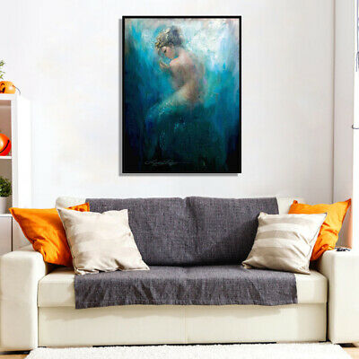 1PC Bare Canvas Mermaid Series  Print Picture Wall Art Painting Home Room Decor