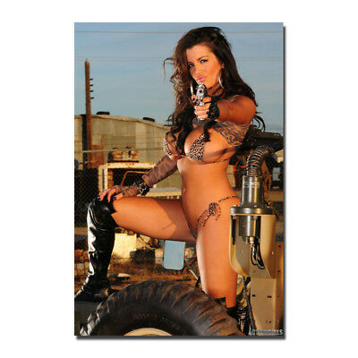 Hot Sexy Model Girl with Guns Silk Art poster Print 13x20 32x48 inch