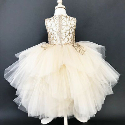 Kids Baby Flower Girl Dress Lace Tulle Party Gown Bridesmaid Dresses Sundress