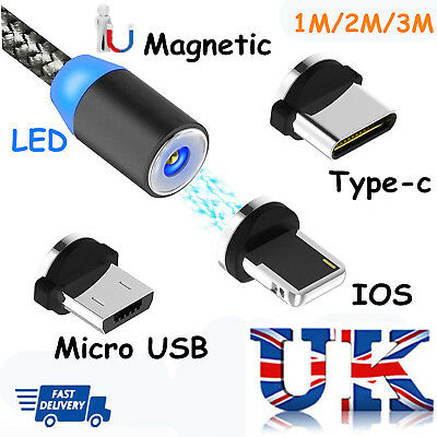 UK 360° LED Magnetic Type-C Micro IOS Adapter Charge Cable For iPhone Samsung