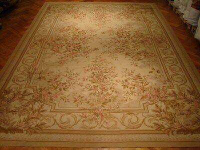 12' x 18' Ivory Aubusson wool Floral Strong Hues Handmade rug
