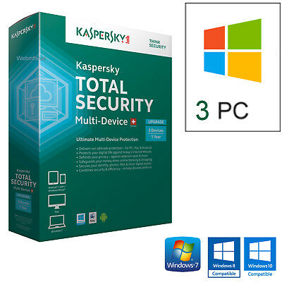 Antivirus Kaspersky Total Security 2019  3Pc Licenza 1 Anno