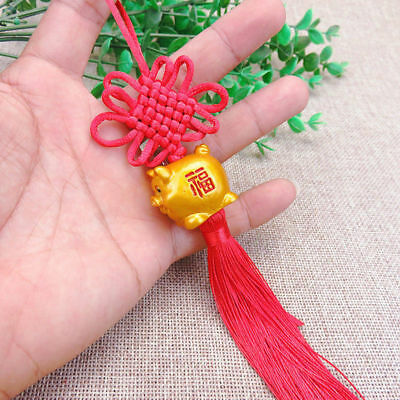 Chinese Knot Resin Lucky Pig Pendant Hanging Tassels Charm Feng shui Wealth