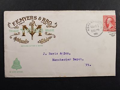 US Advertising Cover 1900 FE Myers&Bro AshlandOH - Manchester DepotVT TroyNYRecd