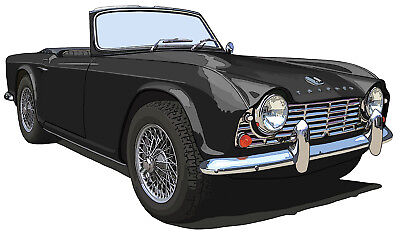 Triumph TR4 canvas art print by Richard Browne - black