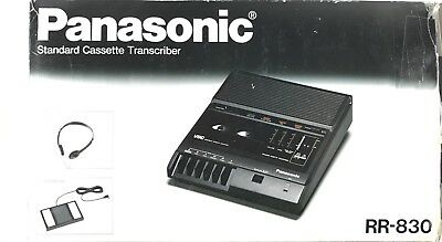 Panasonic RR-830 Standard Cassette Transcriber Audio Tape Recorder