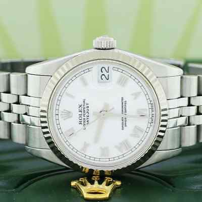 Rolex SS 31mm Roman Dial 18K White Gold fluted bezel Automatic Jubilee 68274