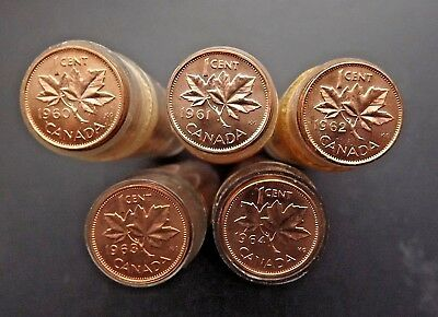 5 Rolls of Canadian Cents - 1960 - 1961 - 1962 - 1963 - 1964