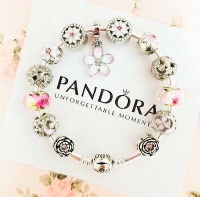 Authentic Pandora Silver Bangle Charm Bracelet With Pink Heart European Charms.