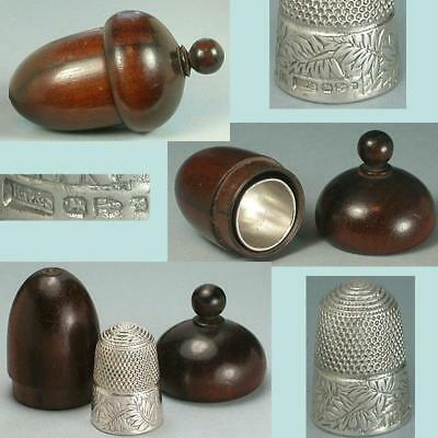 Antique  Rosewood Thimble Acorn w/ Sterling Silver Thimble * Hallmarked 1893