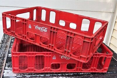 2 (two) - Red Plastic Stackable Sturdy Coca-Cola Carry Storage Crates