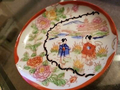 """Antique Japanese Porcelain set of 3 Plate 5 1/2"""" Hand Painted VERY RARE"""