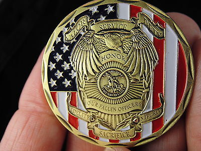 """St Michael Police Officer Badge Challenge Coin """"Honor Our Fallen Officers Coin """""""