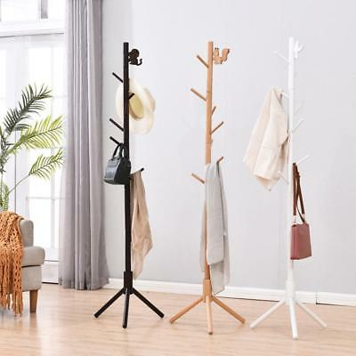 Wooden Coat Hanger Stand Hat Bag Clothes Hanging Tree Rack Storage Stand Shelf